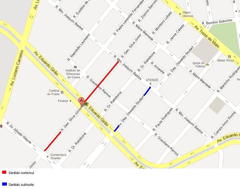 A rua General Silva Júnior e a avenida Oswaldo Studart, no bairro de Fátima, em Fortaleza, vão ter sentido único a partir desta terça-feira (21). A sinalização viária será implantada na noite desta segunda-feira (20)