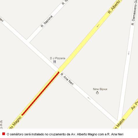 Um novo semáforo será implantado, na noite desta terça-feira (18), no cruzamento da Avenida Alberto Magno com a Rua Ana Neri, no Bairro Jardim América, em Fortaleza