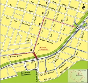 Durante todo o domingo (19), a Rua Professor Aderbal Nunes Ferreira será interditada no trecho entre a Avenida Pontes Vieira e a Rua Dr. Edmilson Barros de Oliveira.
