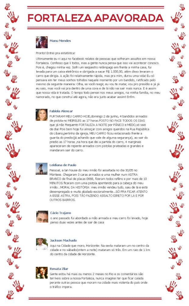 Depoimentos de internautas no Facebook (ARTE: Tiago Leite))