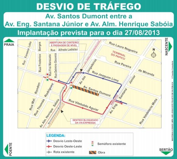 Motoristas devem utilizar os desvios durante a interdição da via (IMAGEM: Divulgação/Prefeitura de Fortaleza)