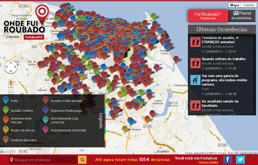 """""""Onde Fui Roubado"""": Fortaleza lidera marcações de denúncias em mapa colaborativo"""