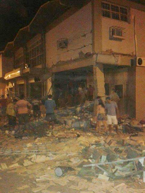 Agência do Banco do Brasil ficou totalmente destruída após ataque. (FOTO: Reprodução/Facebook)