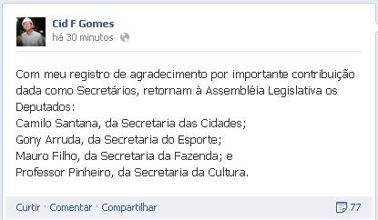 Cid agradeceu o legado dos secretários do Governo (FOTO: Divulgação)