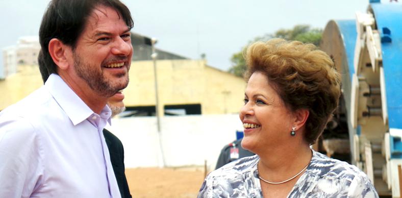 Durante evento, a presidente rasgou elogios a Cid Gomes e Roberto Cláudio (FOTO: Governo do Ceará)
