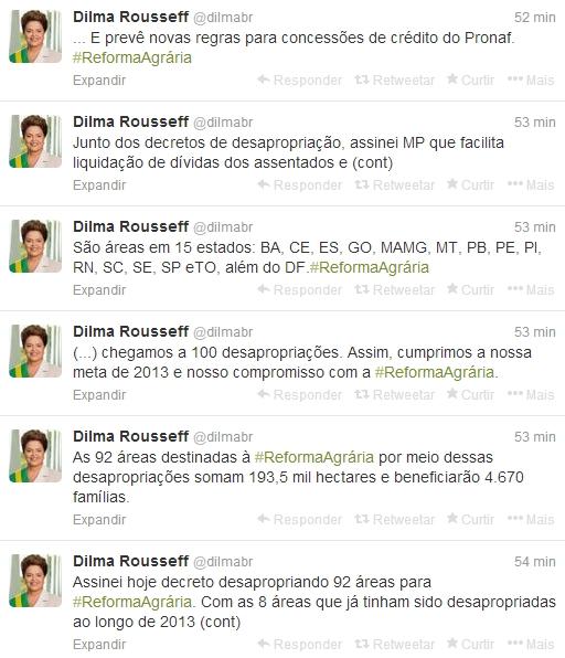 A presidente Dilma Rousseff anunciou a desapropriação de 92 áreas do país destinadas à reforma agrária