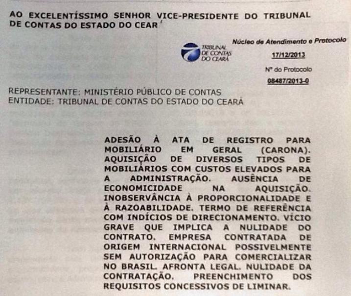 Documento enviado pelo Ministério Público de Contas ao Tribunal de Contas do Estado
