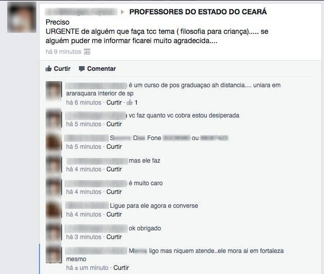 Participantes pedem indicações de vendedores de TCCs em um grupo de professores do Ceará (FOTO: Reprodução)