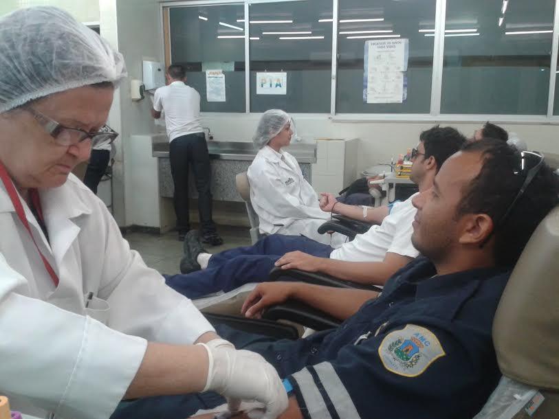 Agentes da AMC doaram sangue nesta quarta-feira (26). (FOTO: Heline Sales/Acervo Sindifort)