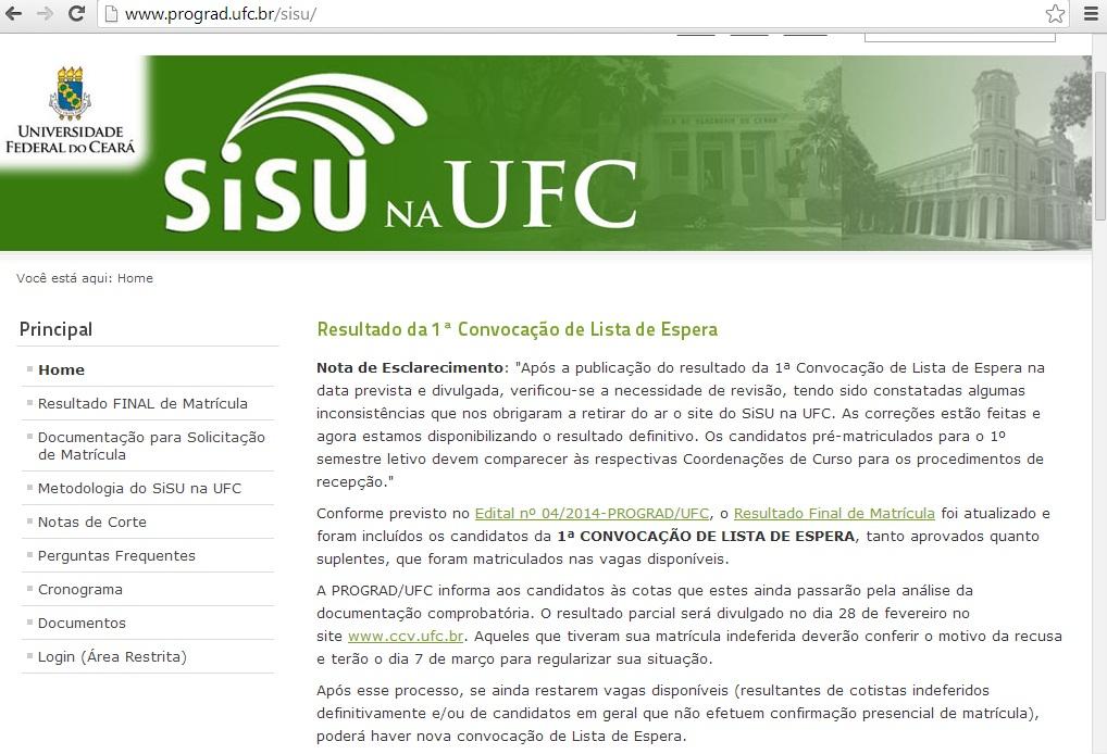 Nota de esclarecimento divulgada pela UFC (FOTO: Divulgação)