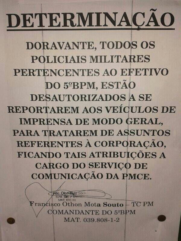 Imagem por um policial militar que não quis se identificar. (FOTO: Whatsapp/ Tribuna do Ceará)