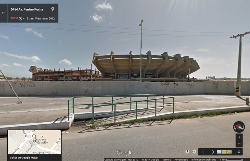 Reforma do Castelão pode ser visualizada por etapas através do Google Maps (FOTO: Reprodução Maps)