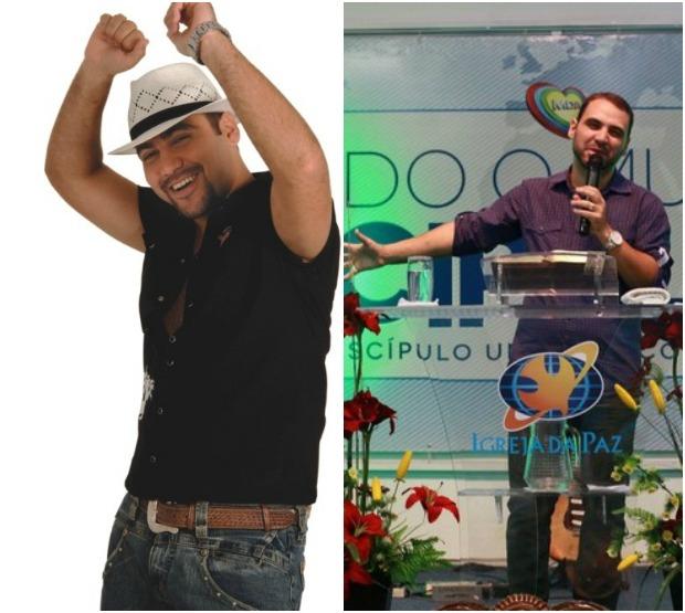 """Na esquerda Felipão com sua tradicional dança e chapéu característico do Forró Moral. Na direita, o """"Novo Felipão"""". (FOTO: Arquivo Pessoal)"""