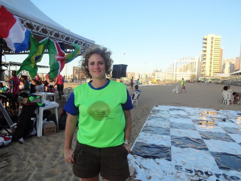 A alemã Lena participou do evento e adorou o intercâmbio realizado (FOTO: Hayanne Narlla/ Tribuna do Ceará)