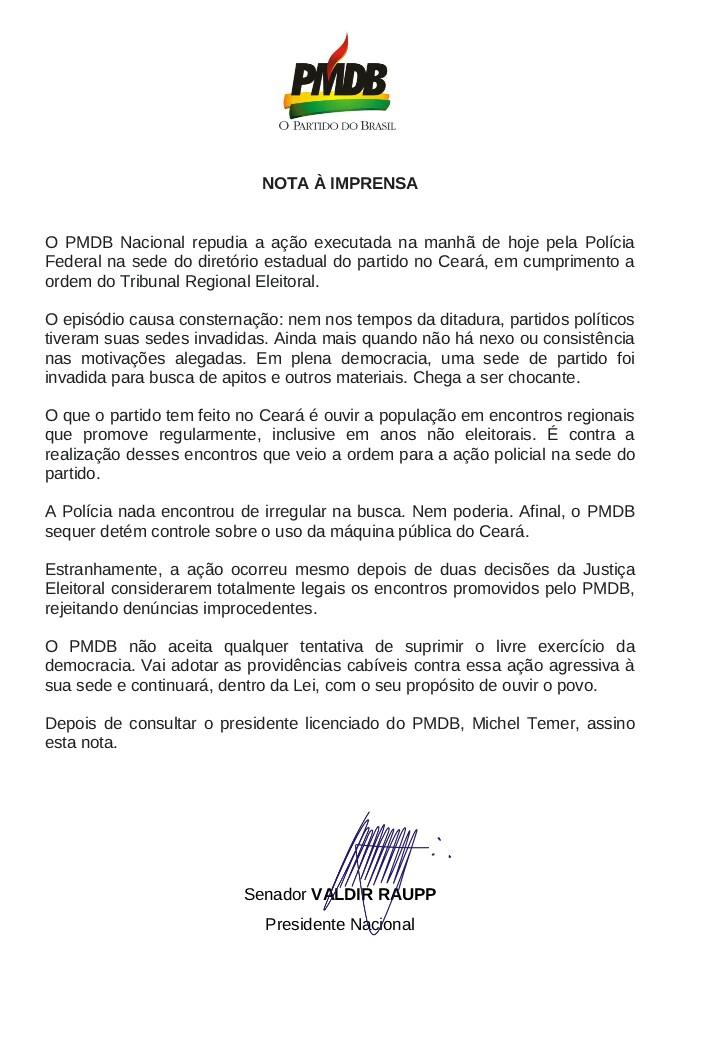 NOTA À IMPRENSA ENVIADA PELA CÚLULA NACIONAL DO PMDB