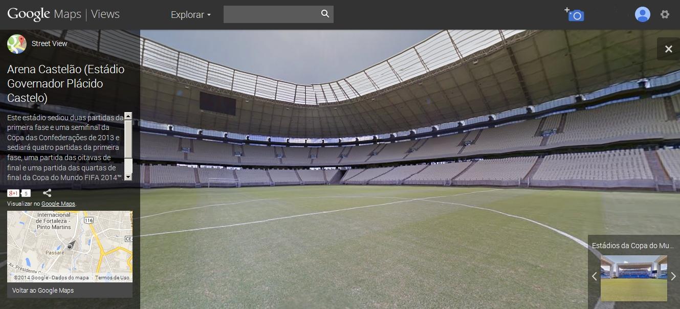 Castelão sediará quatro partidas da 1ª fase, uma partida das oitavas de final e uma partida das quartas de final da Copa do Mundo (FOTO: REPRODUÇÃO/GOOGLE MAPS)