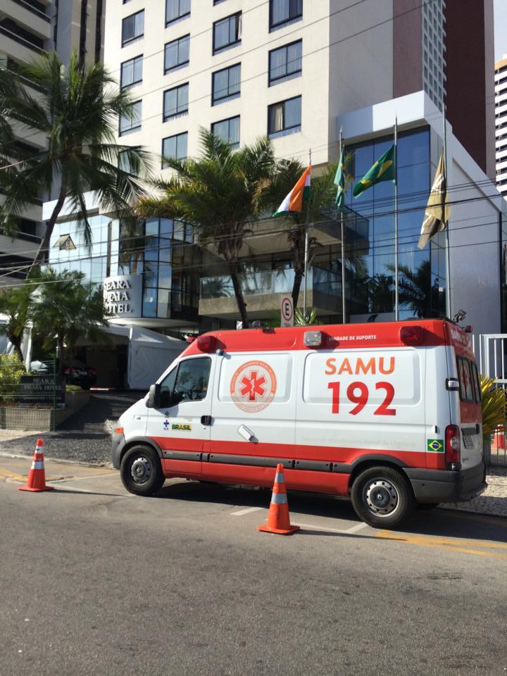 Ambulâncias ficam disponíveis para atendimento prioritário do Brics (FOTO: Reprodução Facebook)