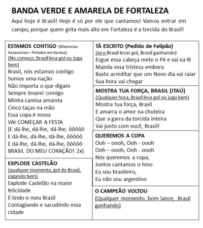 Músicas selecionadas para serem entoadas no Castelão durante a partida entre Brasil e Colômbia. (FOTO: Reprodução Facebook)