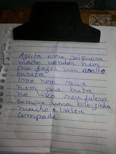 Bilhete foi recebido pela polícia via whatsapp (FOTO: Divulgação)