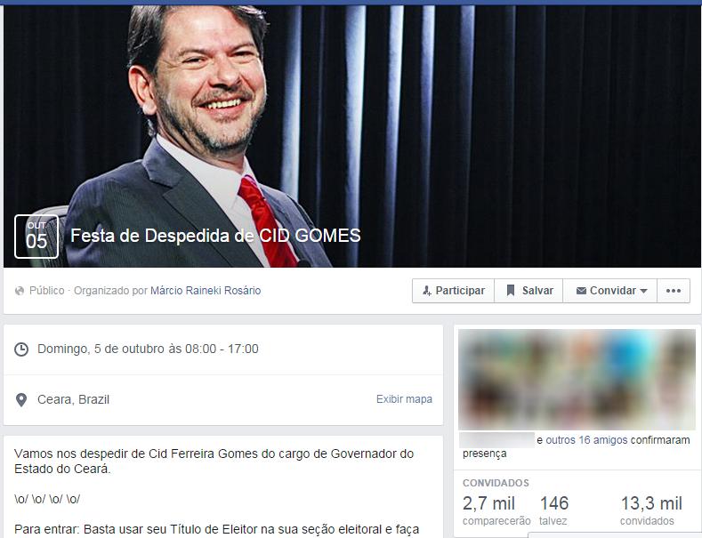 Internauta cria evento no Facebook com críticas a Cid Gomes (FOTO: Reprodução Facebook)