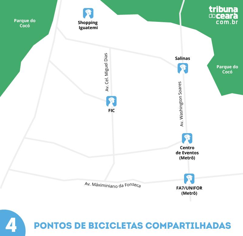 Veja os pontos que terão bicicletas compartilhadas
