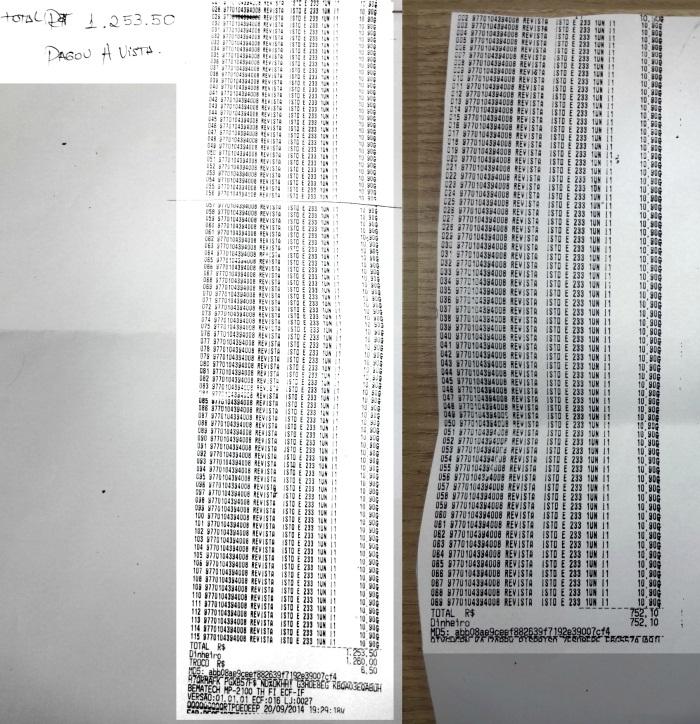 Somento dois homens compraram 184 revistas Istoé em uma livraria de Fortaleza. O valor total de R$ 2.005,60 foi pago à vista. (FOTO: Tribuna do Ceará/ Rosana Romão)