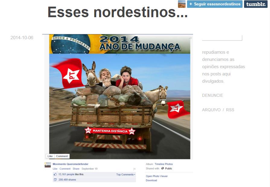 Tumblr é criado para reunir postagens preconceituosas contra nordestinos (FOTO: Reprodução)