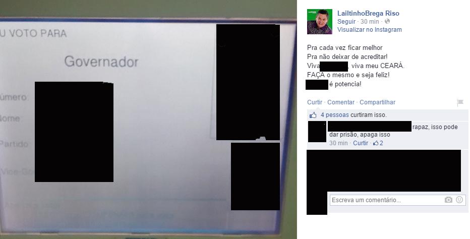 Imagem foi removida do Facebook momentos depois da postagem (FOTO: REPRODUÇÃO)