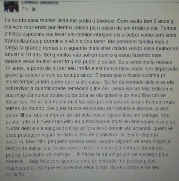 Mensagem no Facebook