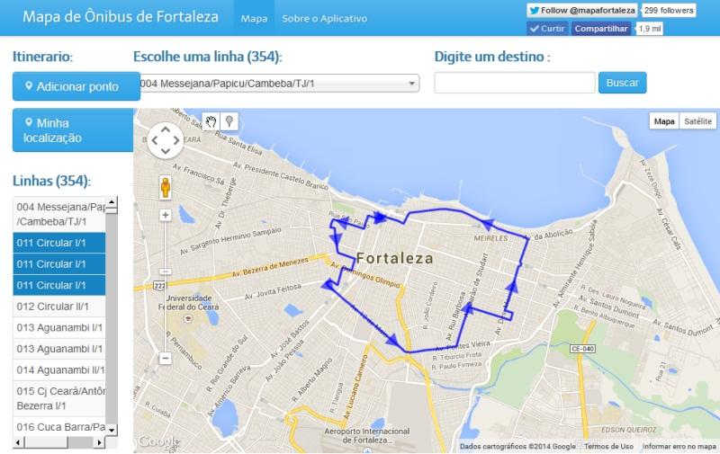 Mapa de Ônibus de Fortaleza