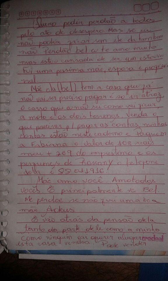 Carta encontrada pela polícia indica a esposa do PM como autora do crime (FOTO: REPRODUÇÃO/FACEBOOK)