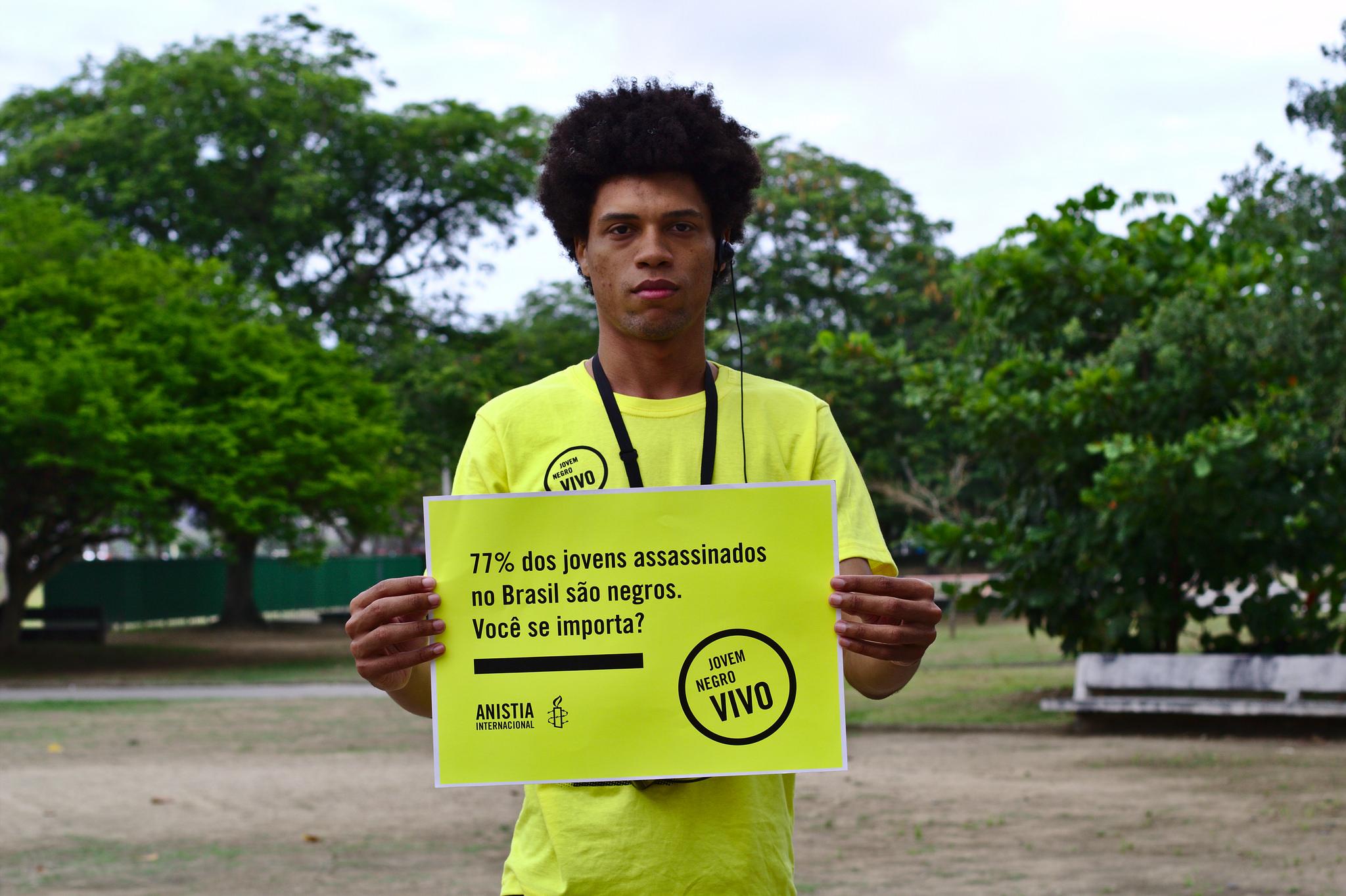a taxa de homicídio de jovens negros também ficou mais alta no Nordeste. No ranking, Ceará está na sétima posição, com o índice de 58,3 (FOTO: Anistia Internacional)