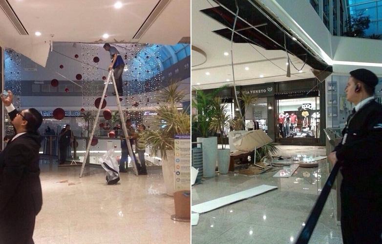 teve alguns corredores de lojas interditados, em virtude de vazamento de água a partir do teto, desabamento de forro e alagamento nas escadarias (FOTO: Reprodução Whatsapp)