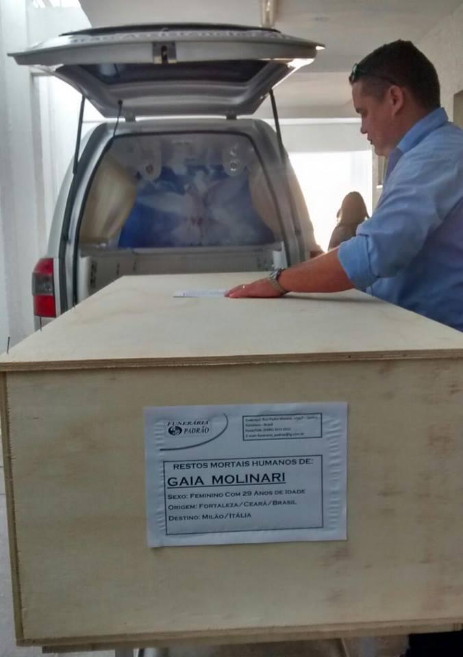 Após 17 dias no Ceará, corpo foi enviado à Itália (FOTO: Cristiano Pantanal/ TV Jangadeiro)