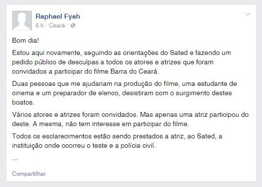 Raphael pediu para que as denúncias sobre ele parassem, pelo Facebook (FOTO: Reprodução)