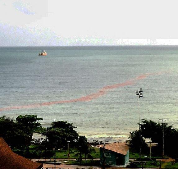 Mancha foi formada porque o dreno que recebia o óleo de navio asiátivo recebeu uma sobrepressão. (FOTO: Liege Xavier)