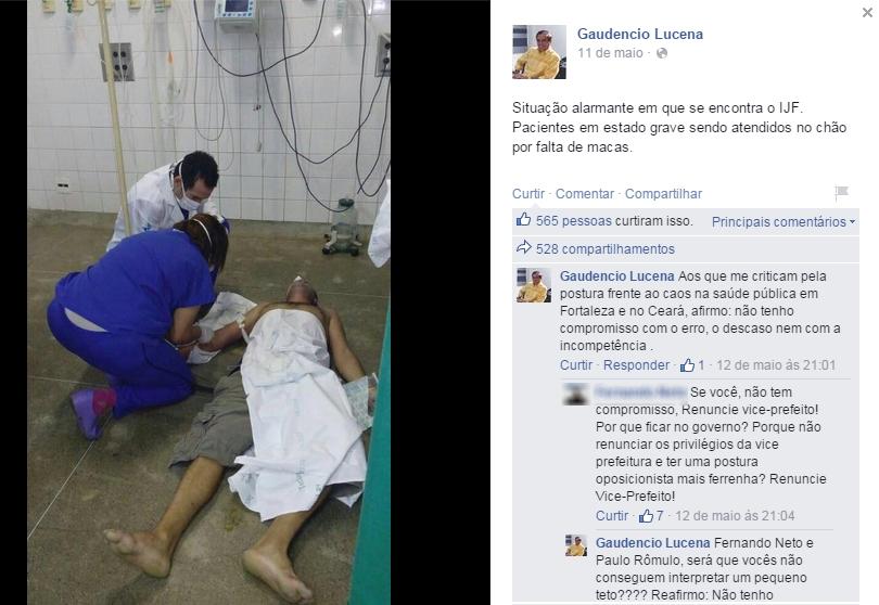 Em resposta a internautas, vice-prefeito disse que cabe ao prefeito cobrar ações de políticas públicas de saúde (FOTO: Reprodução/Facebook)