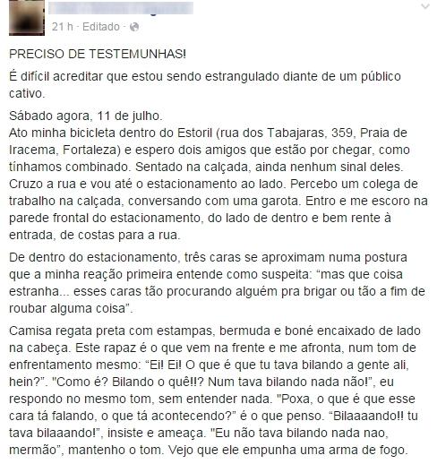 A publicação do professor já tem mais de mil compartilhamentos (FOTO: Reprodução/Facebook)