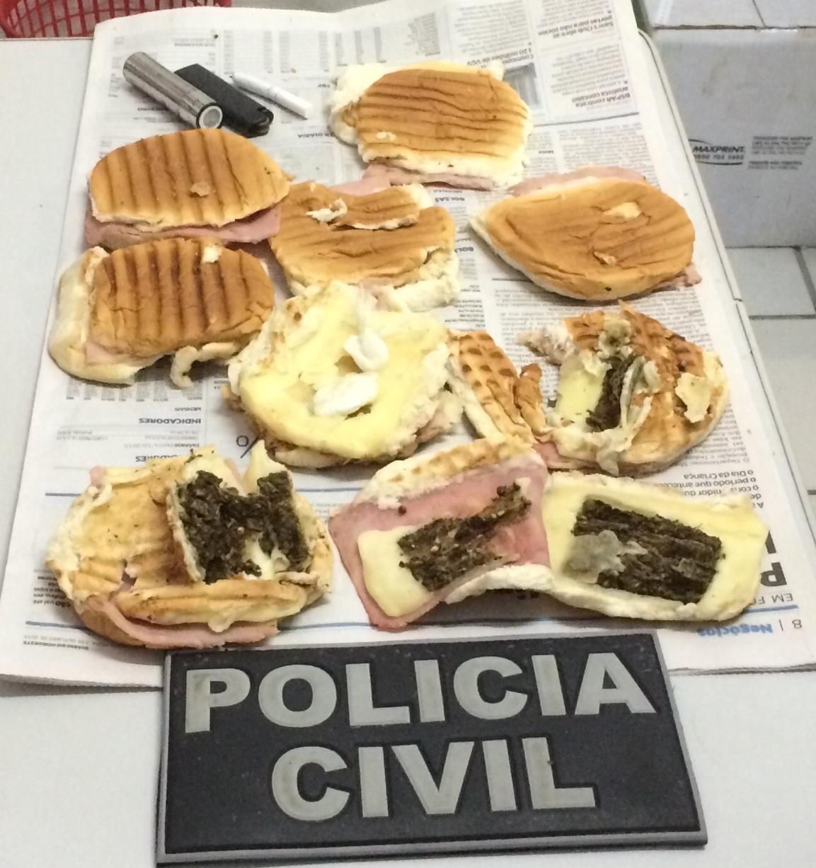 Os oito sanduíches estavam repletos de cocaína e maconha (FOTO: Abraão Ramos/TV Jangadeiro)