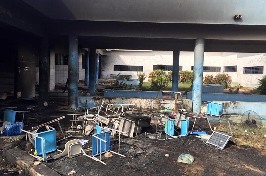 Os dois centros socioeducativos alvo de rebelião ficaram parcialmente destruídos(FOTO: Renato Roseno)