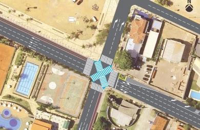 Prefeitura também instala faixa diagonal para pedestres. (FOTO: Divulgação)