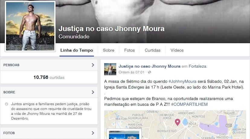 Página do Facebook que acompanha caso de Johnny Moura já tem mais de 10 mil participantes