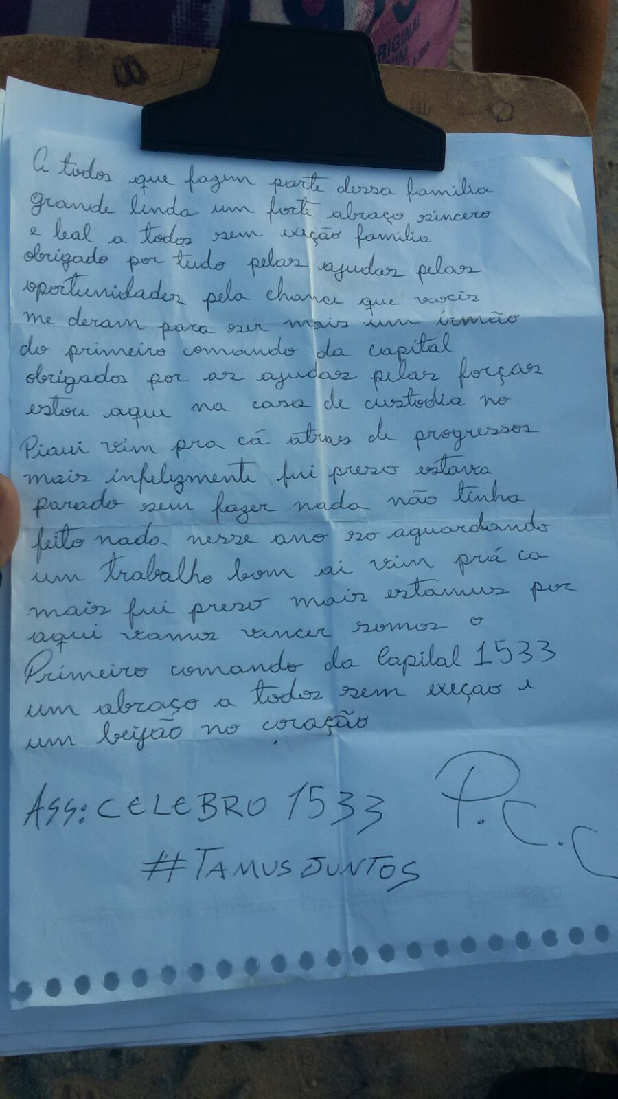 A carta foi apreendida na última segunda-feira (FOTO: Reprodução)