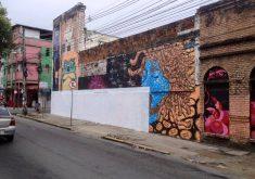 Intervenção artística foi pintada com faixa branca (FOTO: Ragel Silva)