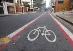 Implantação de ciclofaixa (FOTO: Tribuna do Ceará)