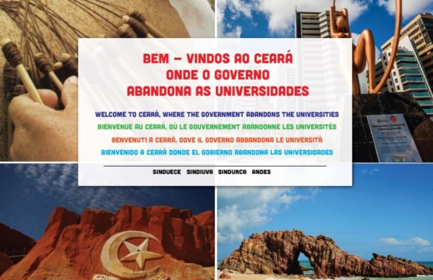 Professores da Uece em greve distribuem panfletos em 5 idiomas criticando governo