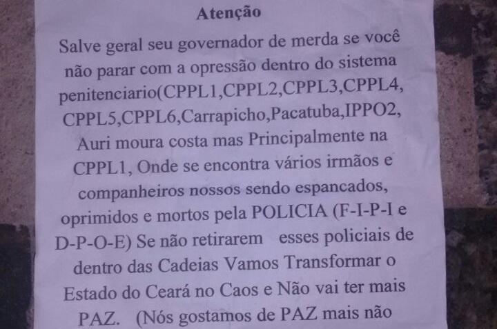 Bandidos deixam carta de ameaça ao governador em ataque a ônibus em Fortaleza