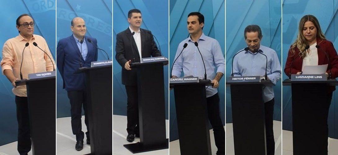 Seis dos oito candidatos à Prefeitura de Fortaleza participaram do debate (FOTO: Emílio Moreno/Tribuna do Ceará)