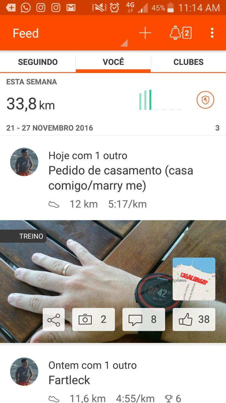 Treino de corredor registra pedido de casamento no mapa de Fortaleza