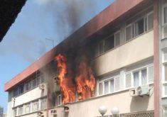 Incêndio foi registrado em edifício na Avenida Santos Dumont (FOTO: Reprodução/Whatsapp)